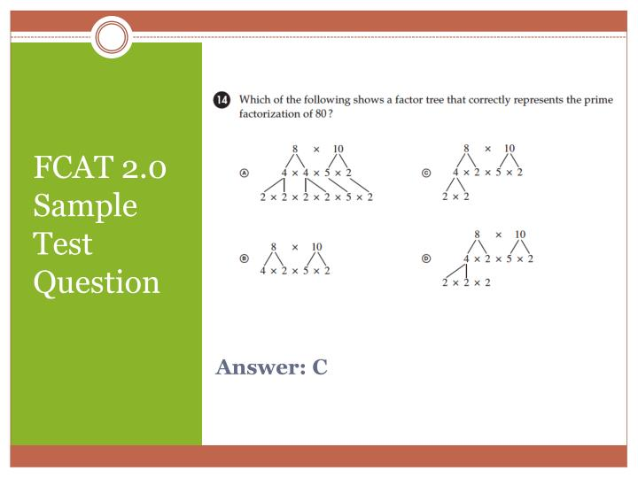 FCAT 2.0 Sample Test Question