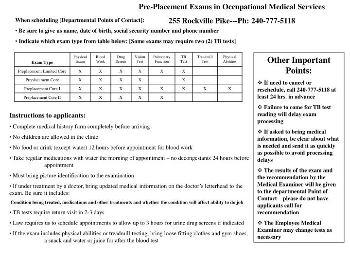 Pre-Placement Exams in Occupational Medical Services