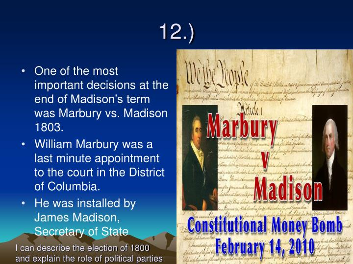 an analysis of most significant case of supreme court marbury vs madison A case in which the court established a precedent for lacking authority, the supreme court canceled marbury's chicago mla marbury v madison oyez.