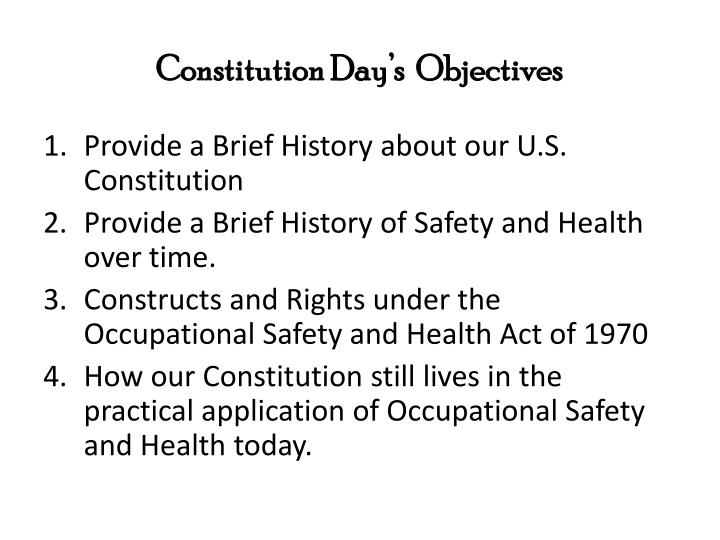 Constitution day s objectives