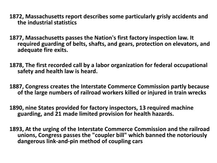 1872, Massachusetts report describes some particularly grisly accidents and the industrial statistics
