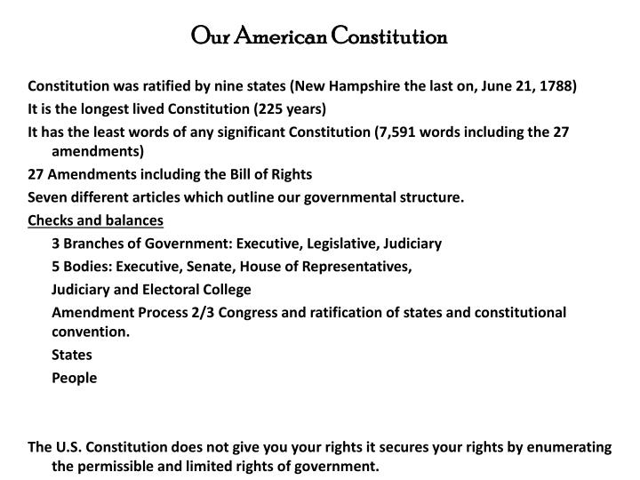 Our American Constitution