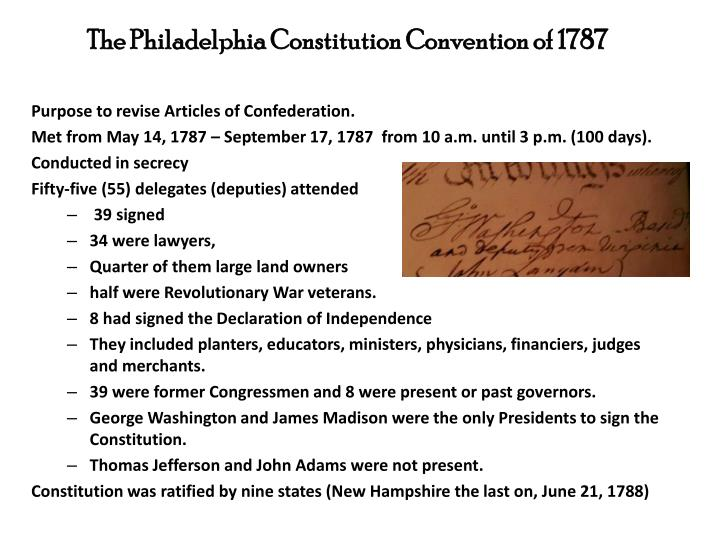 The Philadelphia Constitution Convention of 1787