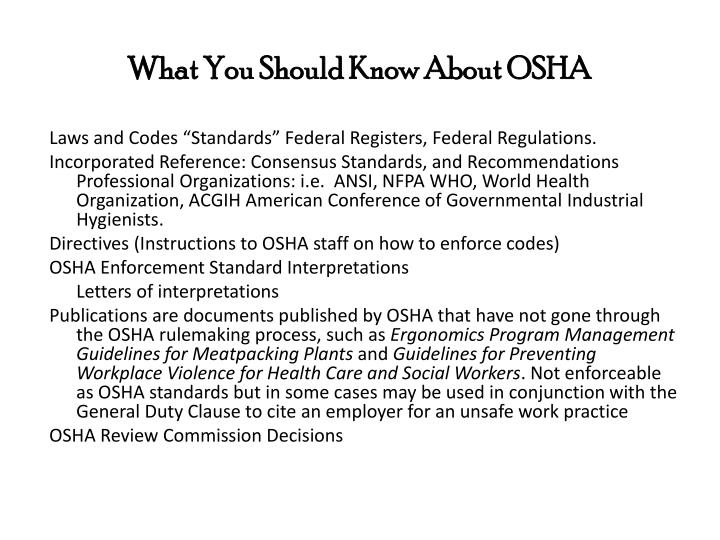 What You Should Know About OSHA