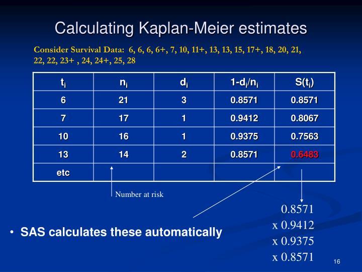 Calculating Kaplan-Meier estimates