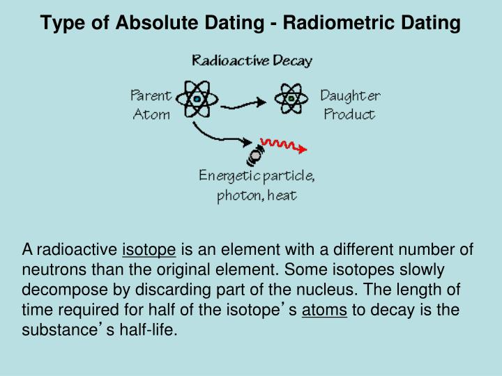 the radiometric dating Radiometric dating is used to estimate the age of rocks and other objects based on the fixed decay rate of radioactive isotopes learn about half-life and how it is used in different dating methods, such as uranium-lead dating and radiocarbon dating, in this video lesson.