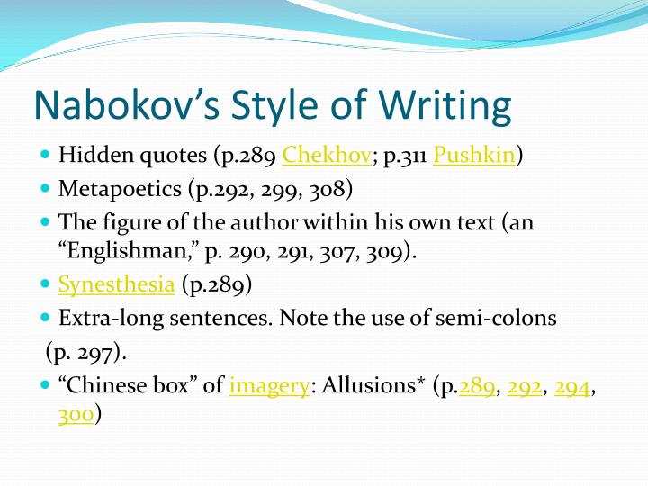 Nabokov's Style of Writing