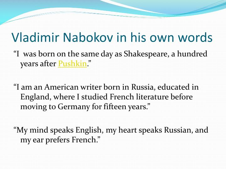 Vladimir nabokov in his own words