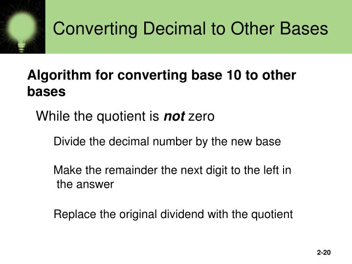 Converting Decimal to Other Bases