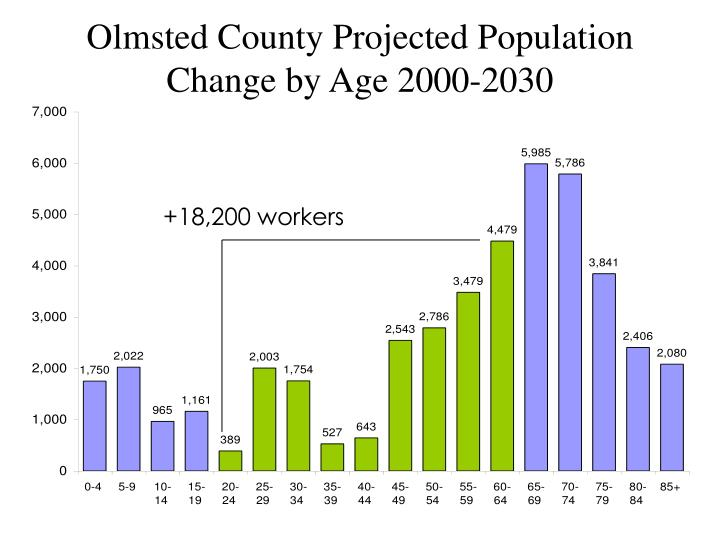 Olmsted County Projected Population Change by Age 2000-2030