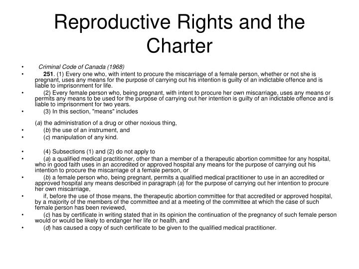 Reproductive rights and the charter