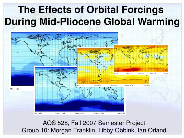 The Effects of Orbital Forcings