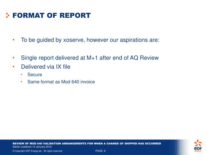 FORMAT OF REPORT