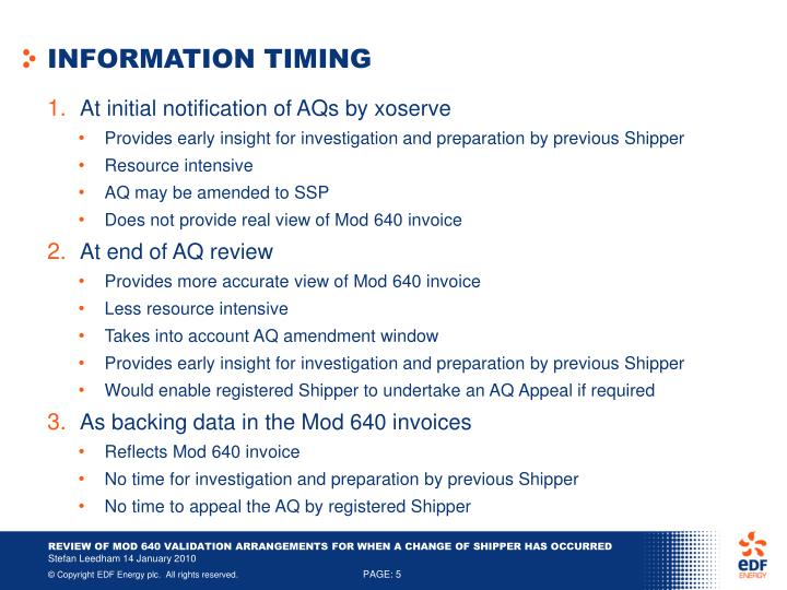 INFORMATION TIMING