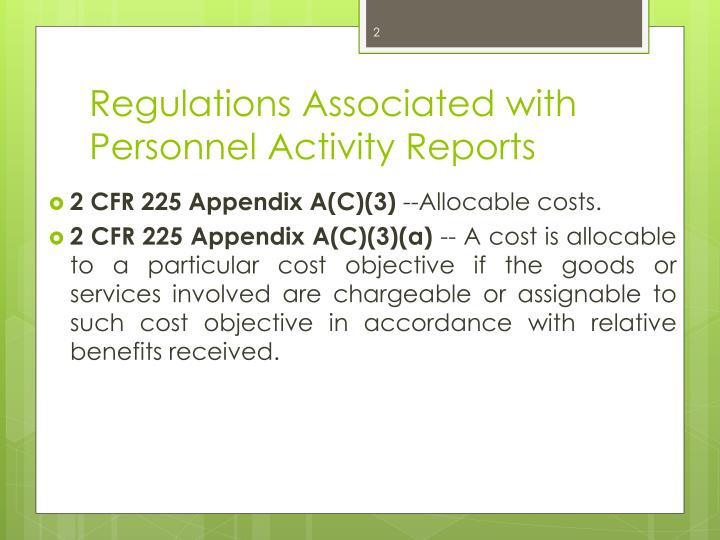 Regulations Associated with Personnel Activity Reports