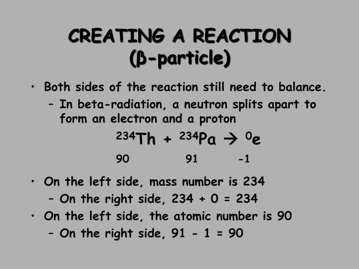 CREATING A REACTION