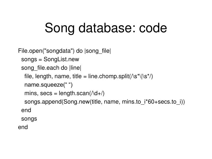 Song database: code