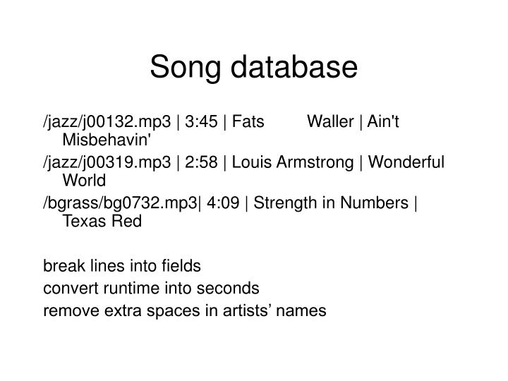 Song database