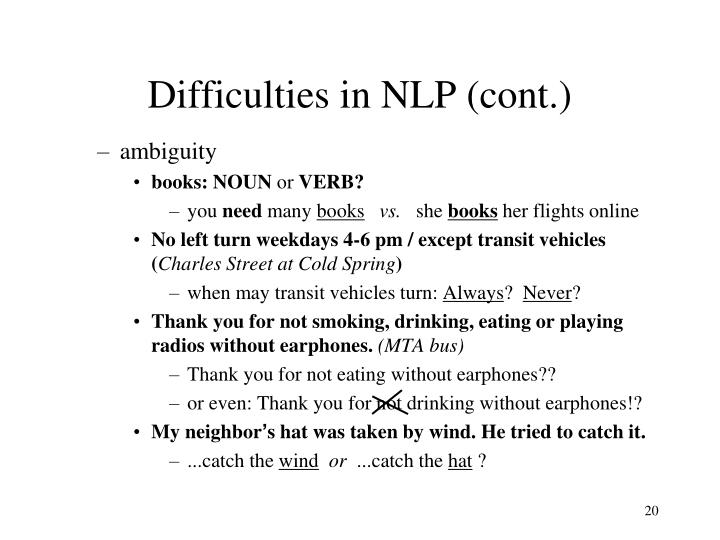 Difficulties in NLP (cont.)