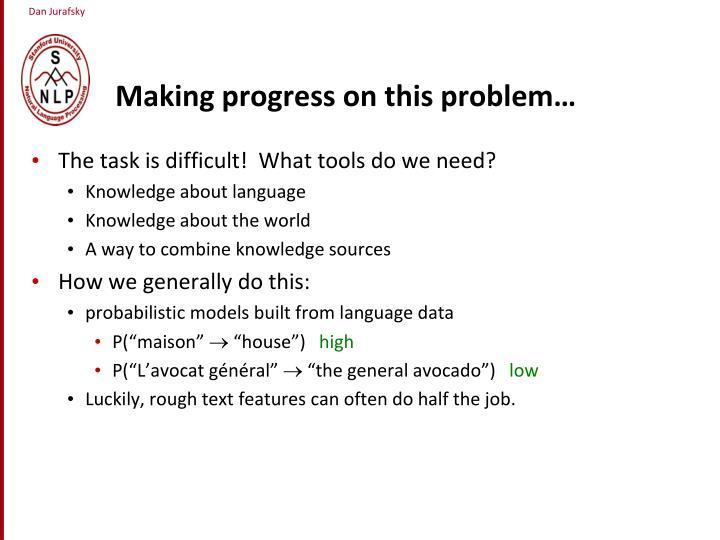 Making progress on this problem…