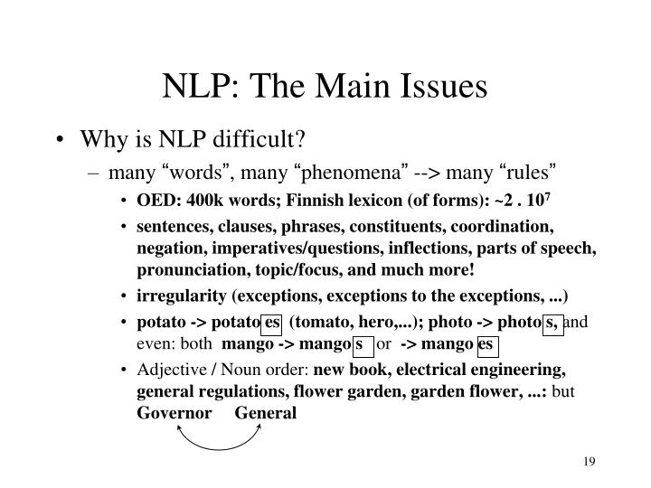 NLP: The Main Issues