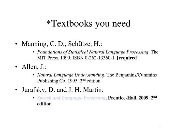 Textbooks you need