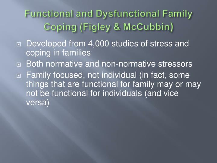 Functional and dysfunctional family coping figley mccubbin