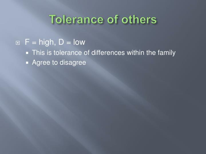 Tolerance of others