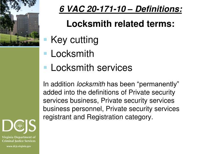 6 VAC 20-171-10 – Definitions: