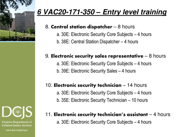 6 VAC20-171-350 – Entry level training