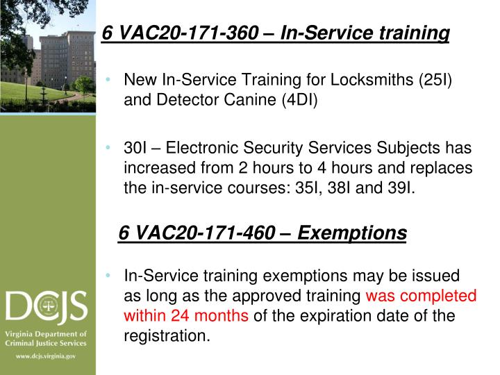 6 VAC20-171-360 – In-Service training