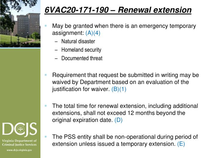 6VAC20-171-190 – Renewal extension
