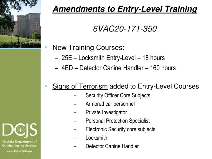 Amendments to Entry-Level Training