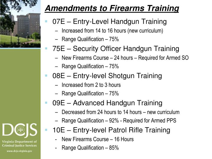 Amendments to Firearms Training