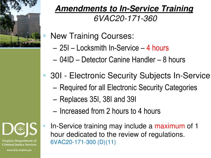 Amendments to In-Service Training
