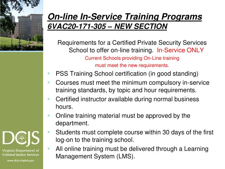 On-line In-Service Training Programs
