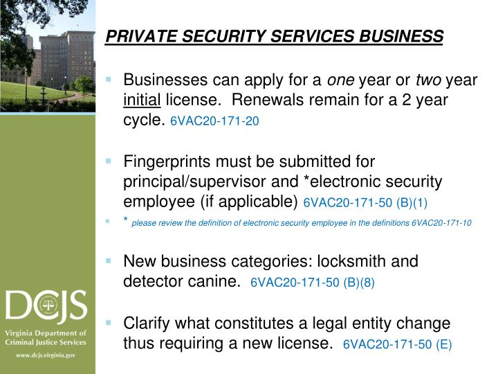 PRIVATE SECURITY SERVICES BUSINESS