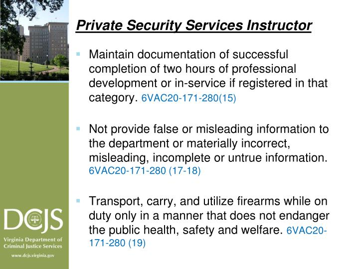 Private Security Services Instructor