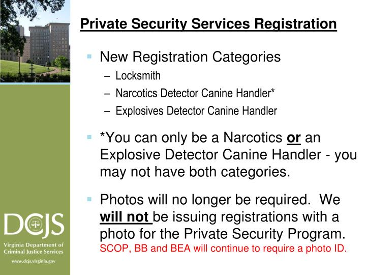 Private Security Services Registration