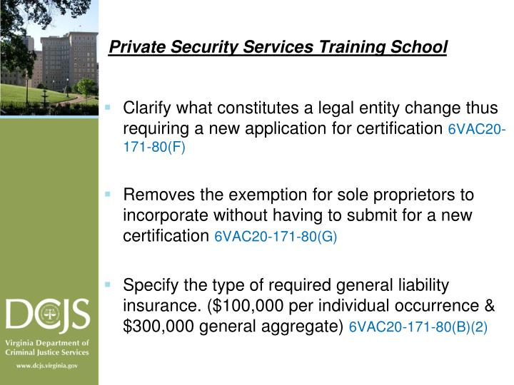 Private Security Services Training School