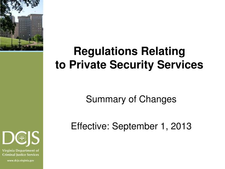Regulations relating to private security services