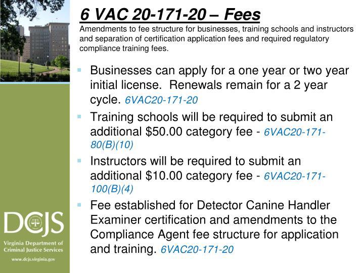 6 VAC 20-171-20 – Fees