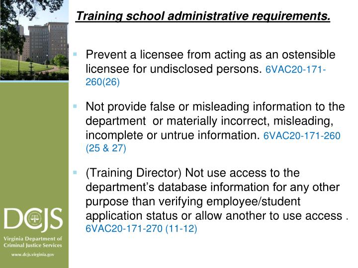 Training school administrative requirements.