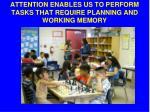 attention enables us to perform tasks that require planning and working memory
