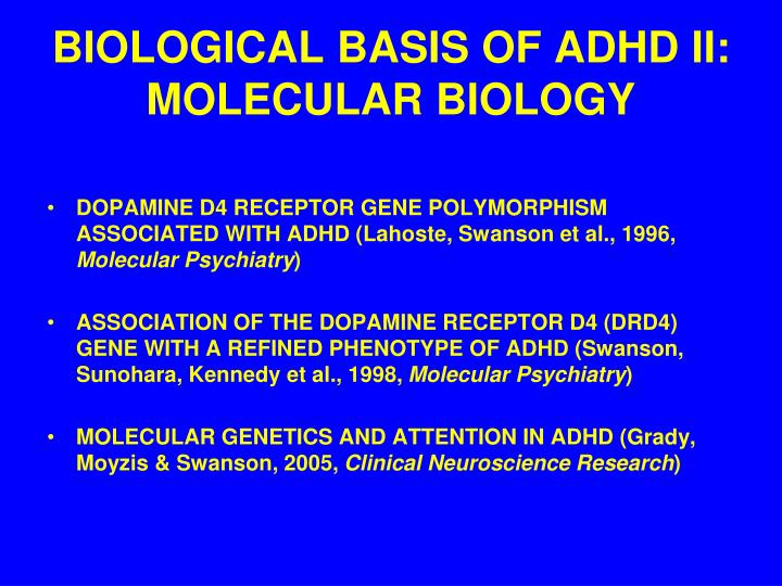 BIOLOGICAL BASIS OF ADHD II: MOLECULAR BIOLOGY