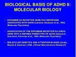 biological basis of adhd ii molecular biology