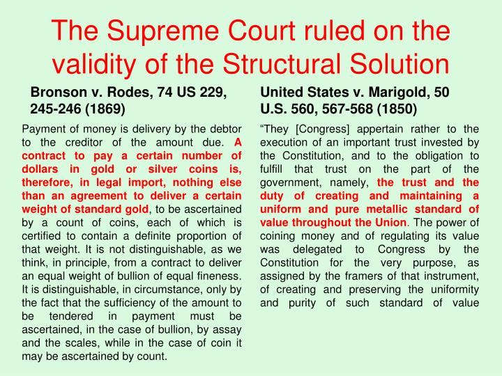 The Supreme Court ruled on the validity of the Structural Solution