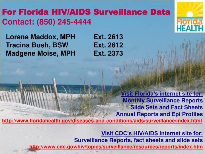 For Florida HIV/AIDS Surveillance Data