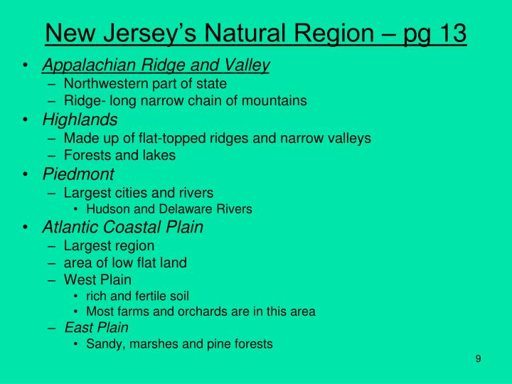 New Jersey's Natural Region – pg 13