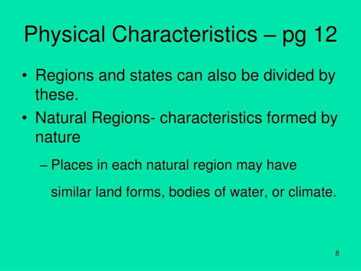 Physical Characteristics – pg 12